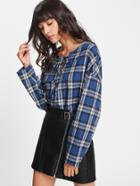 Romwe Eyelet Lace Up Checkered Top