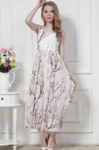 Romwe Sleeveless Floral Print Chiffon White Dress