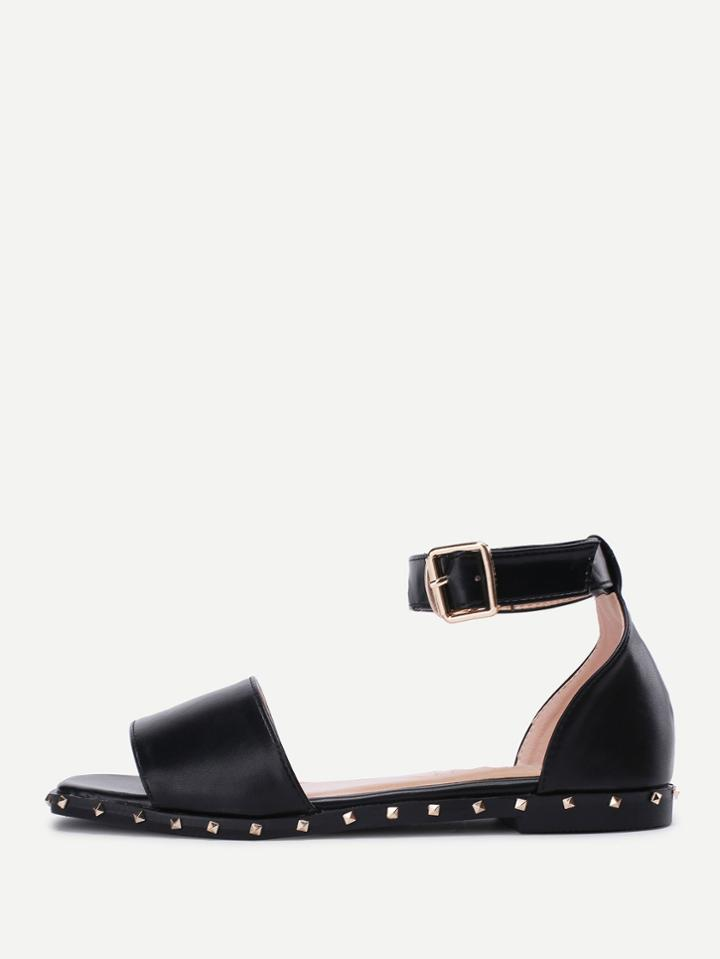 Romwe Studded Detail Ankle Strap Flat Sandals