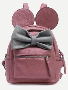 Romwe Contrast Bow Mickey Ear Backpack