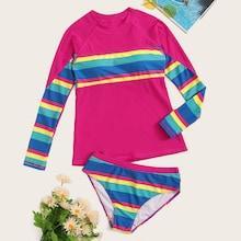 Romwe Rainbow Print Long Sleeve Tankini Set