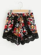 Romwe Contrast Crochet Lace Florals Petal Shorts