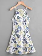 Romwe Floral Print Random Frill Hem Zip Back Cami Dress