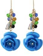 Romwe Blue Rose Dangle Earrings