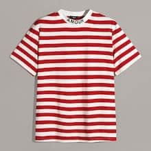 Romwe Guys Letter Embroidered Neck Striped Top