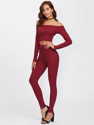 Romwe Off Shoulder Ribbed Top And Drawstring Waist Pants