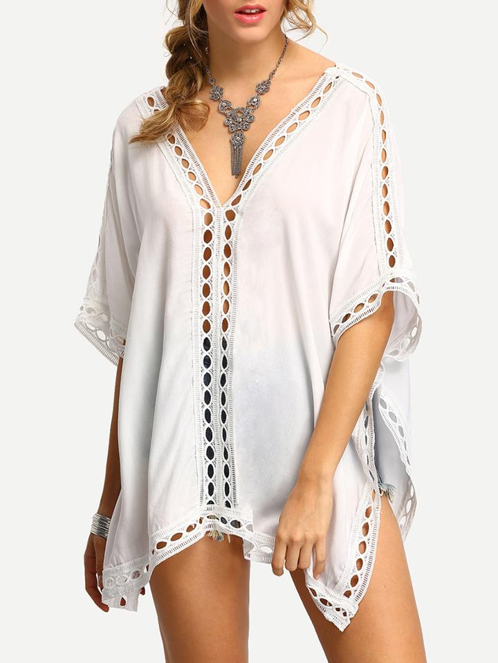 Romwe White V Neck Elbow Sleeve Hollow Out Shirt