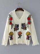 Romwe Flower Applique V Neckline Ripped Sweater