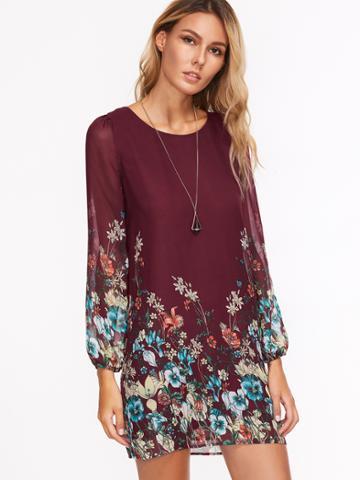 Romwe Florals Chiffon Dress