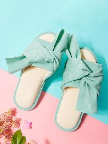 Romwe Twist Bow Flat Slippers