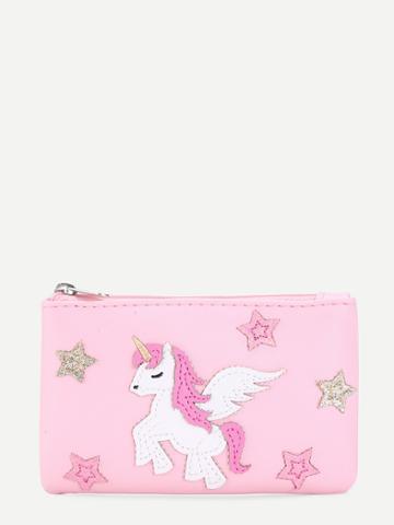 Romwe Horse & Star Pattern Pu Purse