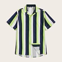 Romwe Guys Neon Striped Revere Collar Shirt