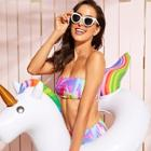 Romwe Watercolor Print  Bandeau With High Waist Bikini Set