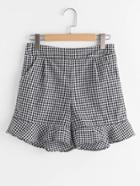 Romwe Gingham Frill Hem Shorts