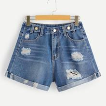 Romwe Bleach Wash Ripped Rolled Hem Denim Shorts