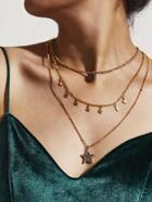 Romwe Star Pendant Layered Necklace