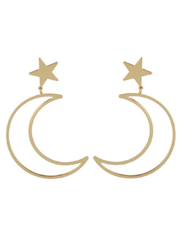 Romwe Gold Simple Star Moon Long Earrings