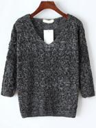 Romwe Dark Grey V Neck Hollow Knitwear