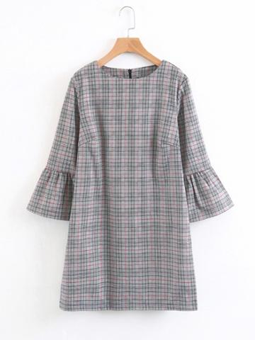 Romwe Fluted Sleeve Plaid Dress