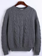 Romwe Round Neck Cable Knit Grey Sweater