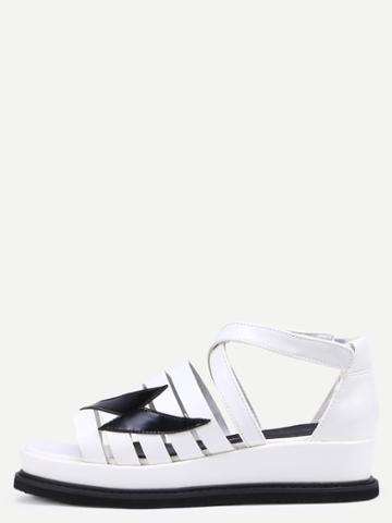 Romwe White Peep Toe Crisscross Strappy Velcro Wedges