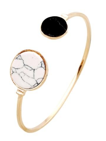 Romwe Two Tone Stone Cuff Bangle