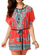 Romwe Red Bat Sleeve Vintage Print Dress