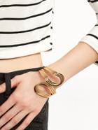 Romwe Gold Plated Minimalist Hollow Out Bangle