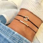 Romwe Circle Detail Bracelet Set 2pcs