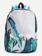 Romwe Leaf Print Front Pocket Casual Canvas Backpack