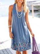 Romwe Blue Draped Floral Print Tank Dress