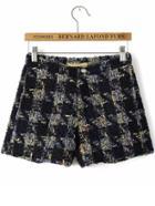 Romwe Plaid Tweed Shorts