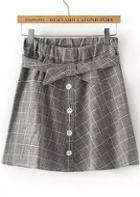 Romwe Grey Bow Plaid Pleated Skirt