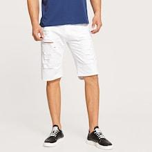 Romwe Guys Ripped Bermuda Denim Shorts