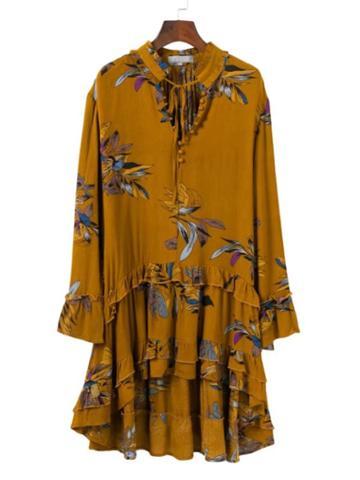 Romwe Botanic Print Layered High Low Hem Dress
