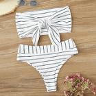 Romwe Striped Tie Front Bandeau With High Waist Bikini Set