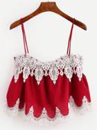 Romwe Red Crochet Applique Crop Cami Top