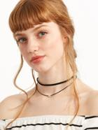 Romwe Black Double Layer Beaded Choker Necklace