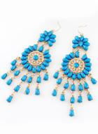 Romwe Blue Drop Gemstone Tassel Dangle Earrings