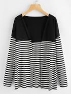 Romwe Contrast Striped Long Cardigan