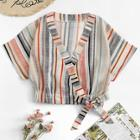 Romwe Knot Side Colorful Striped Top