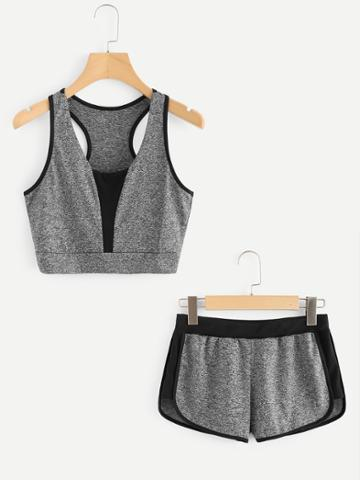 Romwe Contrast Panel Tank Top With Shorts