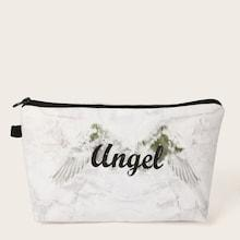 Romwe Letter & Marble Pattern Makeup Bag