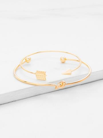 Romwe Arrow & Knot Detail Cuff Bracelet Set