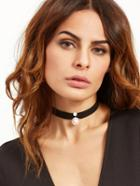 Romwe Black Ribbon Faux Pearl Choker Necklace