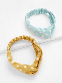 Romwe Polka Dot Twist Headband 2pcs