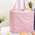 Romwe Striped Drawstring Lunch Storage Bag
