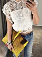 Romwe White Pom Pom Trim Crochet Top