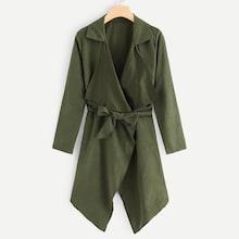Romwe Waterfall Belted Outerwear