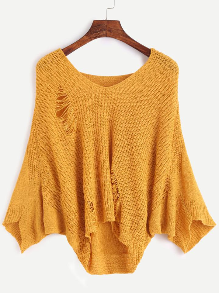Romwe Ginger V Neck Batwing Sleeve Hollow Sweater